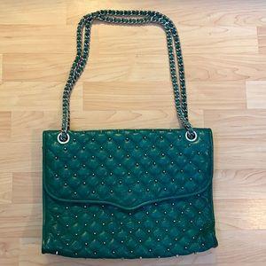 Rebecca Minkoff Large Studded Quilted Leather Shoulder Bag Green Silver Studs